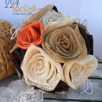 Kissing Ball, Wedding, Plum and Orange Kissing Ball, Wedding Bouquet, Burlap Bouquet, Rustic Burlap Bouquet, Alternative Bouquet