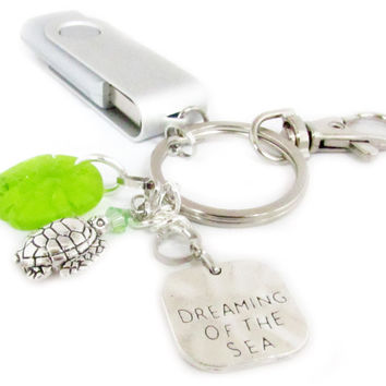 Flash Drive Keychain with Beach Charms