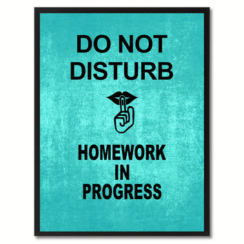 Don't Disturb Shhh Funny Sign Aqua Print on Canvas Picture Frames Home Decor Wall Art Gifts 91811