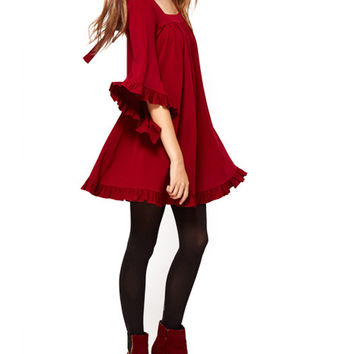 Half Bell Sleeve Cut-Out Ruched Chiffon Dress