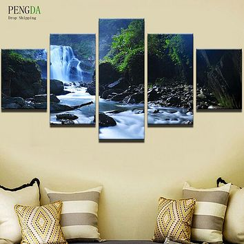 PENGDA Frame 5 Panel Waterfall Wall Canvas Art Print Painting Poster Wall Modular Picture For Home Decoration Painting Kids Room