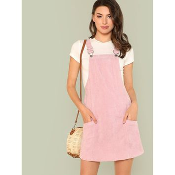 Pocket Patched Solid Overall Dress