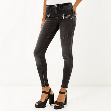 Washed black biker zip Molly jeggings - jeggings - jeans - women