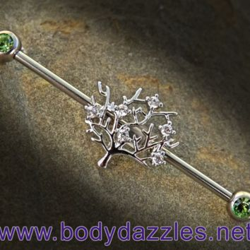 Tree of Life Green Rhinestone Ends Industrial Barbell Scaffold Piercing 14ga Body Jewelry Piercing Jewelry 316L Surgical Stainless Steel
