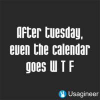After Tuesday, Even The Calendar Goes W T F Quote Decal Sticker