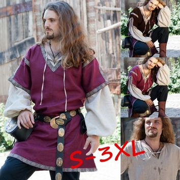 3 Colors S-3XL Men Fashion Long Sleeve Medieval Clothing Vintage Style Cosplay Medieval Classic Men's Set Tunic Tops Without Bel