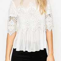 White High Neck Lace Crochet Detail Sheer Blouse