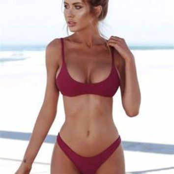 Fashion Hot Sell Pure Color Swimsuit Sexy Suspenders Two Pieces Of Bikini