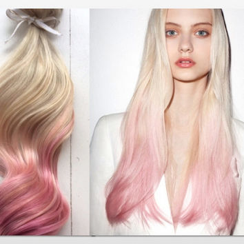"""Pastel Ombre Hair Extensions, Platinum Blonde and Pastel Pink Hair, Blonde Hair Extensions, Pink Hair, Clip In Human Hair Extensions,20"""""""