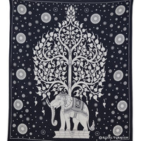 Black Indian Elephant Hippie Tapestry Wall Hanging Decor Art