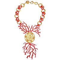Iconic Robert Goossens For Yves Saint Laurent Coral sun Necklace and Earrings