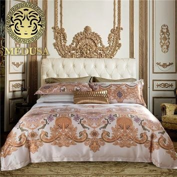 Medusa 1400TC damask Europe palace bedding king queen size 4pcs duvet cover set turquoise navy
