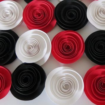 "Red Black and White paper flowers Set of 12, Trending Wedding colors, Hot Decorating Supply, 1.5"" rose buds, Popular centerpiece ideas"