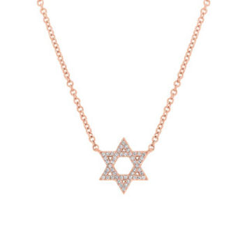 0.11ct 14k Rose Gold Diamond Star of David Necklace