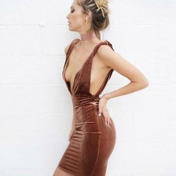 sexy backless Gradient color  one-piece dress  a13859
