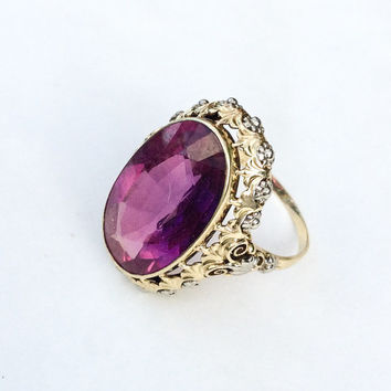 RESERVED Do Not Purchase Amethyst Ring 14K Gold German 585 Ring Art Nouveau Vintage Jewelry