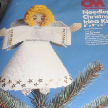 Columbia Minerva Needlepoint Christmas Kit Tree Top Angel