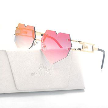 MINCL/Fashion Love Heart Shaped Sunglasses Women Brand Designer Vintage Women's Glasses Sun Glasses Feminine Mirrored Female LXL