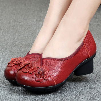 Women's Genuine Soft Leather Low Heeled Vintage Style Casual Pumps