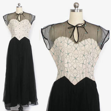 Vintage 40s EVENING Gown / 1940s Black SEQUIN Trim Embroidered Net Formal Dress S - M
