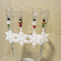Handmade Sparkling Snowflake Beaded Dangle Earrings, Christmas Sparkle, Holiday Cheer, Winter Jewelry, Fashion Jewelry, Classic Style, Cute