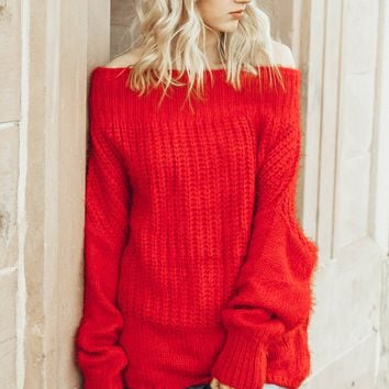 Lure Me In Red Off The Shoulder Sweater