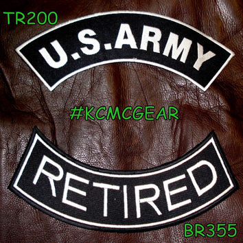 Military Patch Set U.S. Army Retired Embroidered Patches Sew on Patches for Jackets