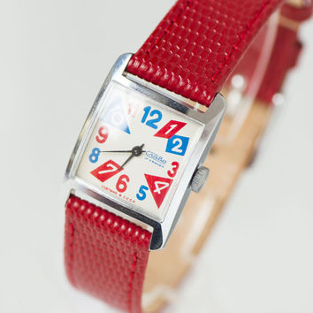 Retro style woman's watch Glory, square silver red blue watch, fun teens watch mechanical, girl's watch Soviet, premium leather strap new
