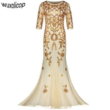 Vintage 1920s Long Formal Dress See-Through Half Sleeve Embroidery Floral Sequin Party Dress Sexy Maxi Mermaid Dress Vestido