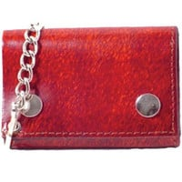 Genuine Leather Biker Trifold Chain Wallet Red 946-6 (C)