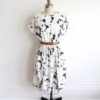 Vintage 80s Black & White Tropical Floral Print Cotton Dress // A Line Summer Dress