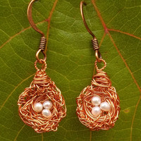 """Bridesmaids Gifts-Tiny Messy Copper Wire Bird's Nest With Ivory Seed Pearl """"Eggs"""" Dangle Earrings (made to order)"""