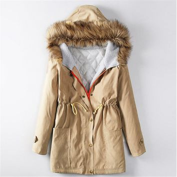 Women Coat Drawsting Trendy Carmo Military Trench Winter Coat Solid 4 Colors