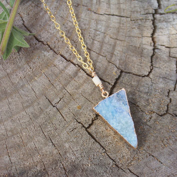 Light Powder Blue Crystal Triangle Druzy Charm Necklace // Geometric Bohemian Minimalist Layered Necklace // Bridesmaid Jewelry