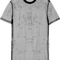 Givenchy - Faux pearl-embellished top in black tulle