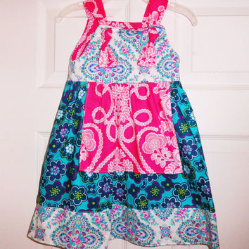 Girls Pink Teal Apron Knot Dress Ready to ship for Spring