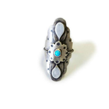 Mandala Ring, Knuckle Ring, Long Ring, Saddle Ring, Sterling Silver Wide Ring, Silver Boho Tribal Ring, Statement Ring With Turquoise