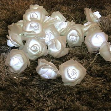 2.2 Meter Battery Powered 20 LED Rose Flower String Fairy Lights Wedding Home Birthday New Year Event Party Christmas Decoration