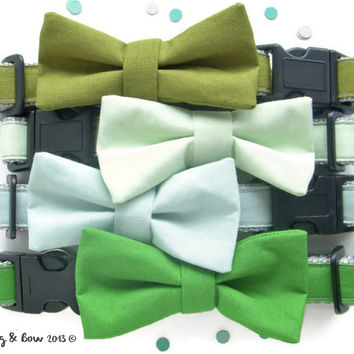 Olive, Lime, Mint, & Green Dog Collar With Removable Bow Tie