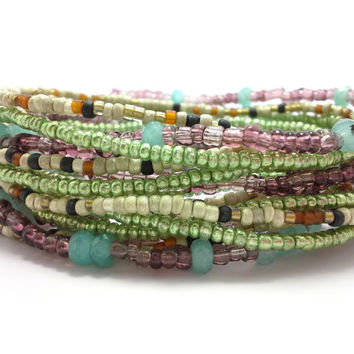 Seed bead wrap stretch bracelets, stacking, beaded, boho anklet, bohemian, stretchy stackable multi strand, green brown white purple jade