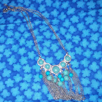 Gorgeous Silver Tone Native American Style Dangling Bib Waterfall Necklace With Faux Turquiose Stones  FREE SHIPPING USA