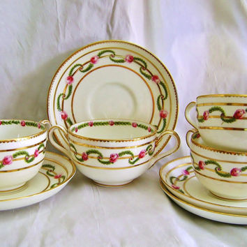 Antique Porcelain Soup Set, Cream Soup Set of 4, Porcelain George Jones & Sons, Edwardian Soup bowls