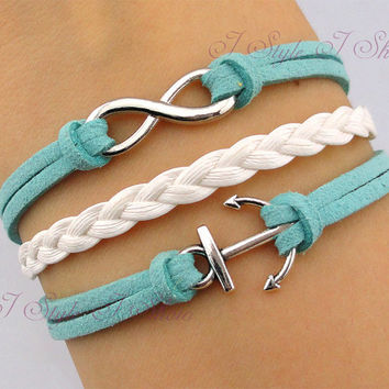 Bracelet,  infinity bracelet,anchor bracelet, mint green bracelet,bridesmaid bracelet, friendship christmas gift,personalized