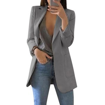 Laamei 2019 Women Long Sleeve Solid Color Turn-down Collar Coat Lady Business Suit Cardigan Jacket Femme Thin Blazer Slim Top