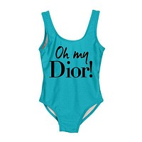 DIOR 2018 New Women's Sexy High Quality One Piece Swimwear Bikini F-ZDY-AK Blue+black letters