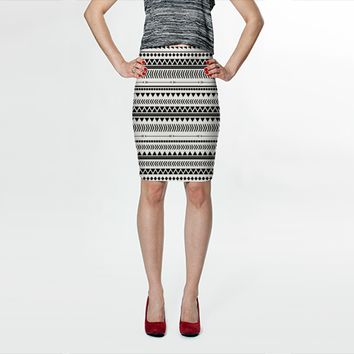 Black and white aztec by Allyson Johnson (Fitted Skirt)