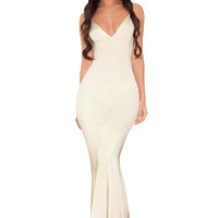 Clothing : Max Dresses : 'Cher' Champagne Silky Jersey Strappy Maxi Dress