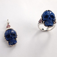 Lapis Skull Jewelry Set (Pendant & Ring)