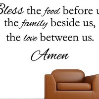 Bless the food before us kitchen and dining room wall decal