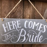 Here Comes The Bride Sign Chalkboard WEDDING Decor